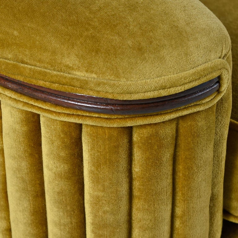 Mid-20th Century Art Deco Mahogany Accent Bronze Gold Chartreuse Mohair Club Chair For Sale