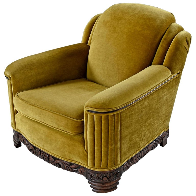 Art Deco Mahogany Accent Bronze Gold Chartreuse Mohair Club Chair For Sale