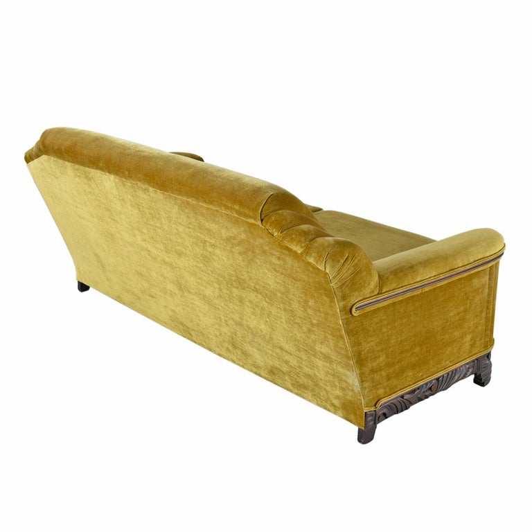 American Art Deco Mahogany Accent Bronze Gold Chartreuse Mohair Sofa Couch For Sale