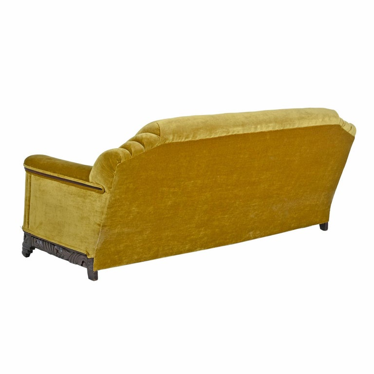 Art Deco Mahogany Accent Bronze Gold Chartreuse Mohair Sofa Couch In Excellent Condition For Sale In Saint Petersburg, FL