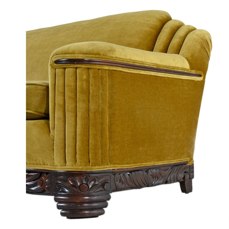 Mid-20th Century Art Deco Mahogany Accent Bronze Gold Chartreuse Mohair Sofa Couch For Sale