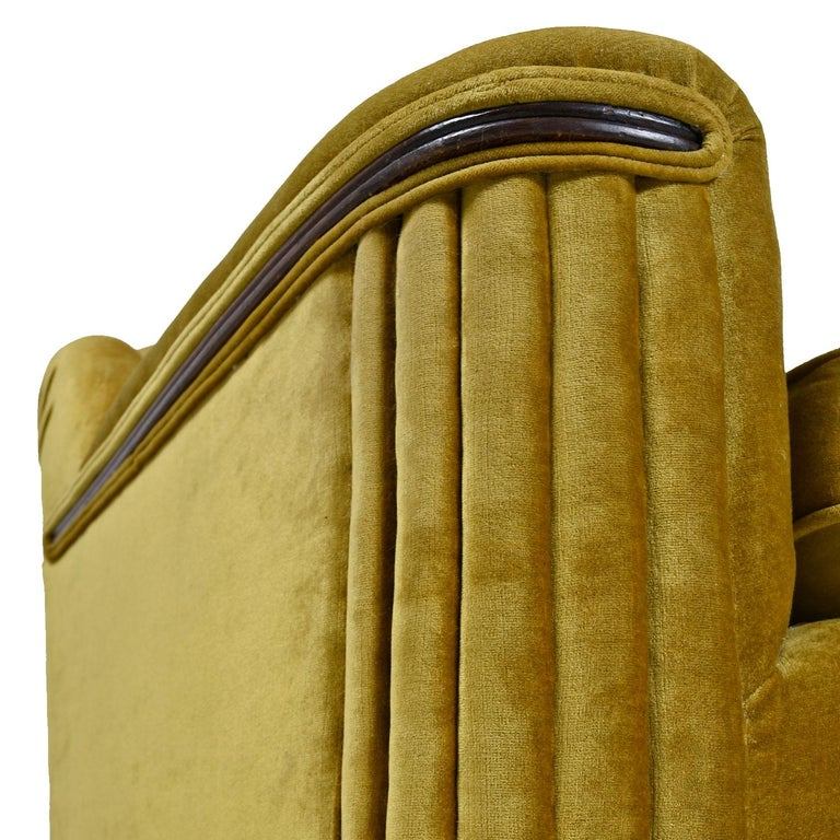Art Deco Mahogany Accent Bronze Gold Chartreuse Mohair Sofa Couch For Sale 1
