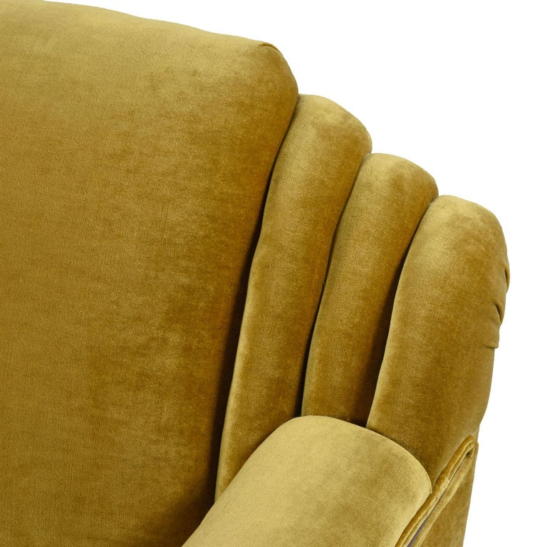 Art Deco Mahogany Accent Bronze Gold Chartreuse Mohair Sofa Couch For Sale 2