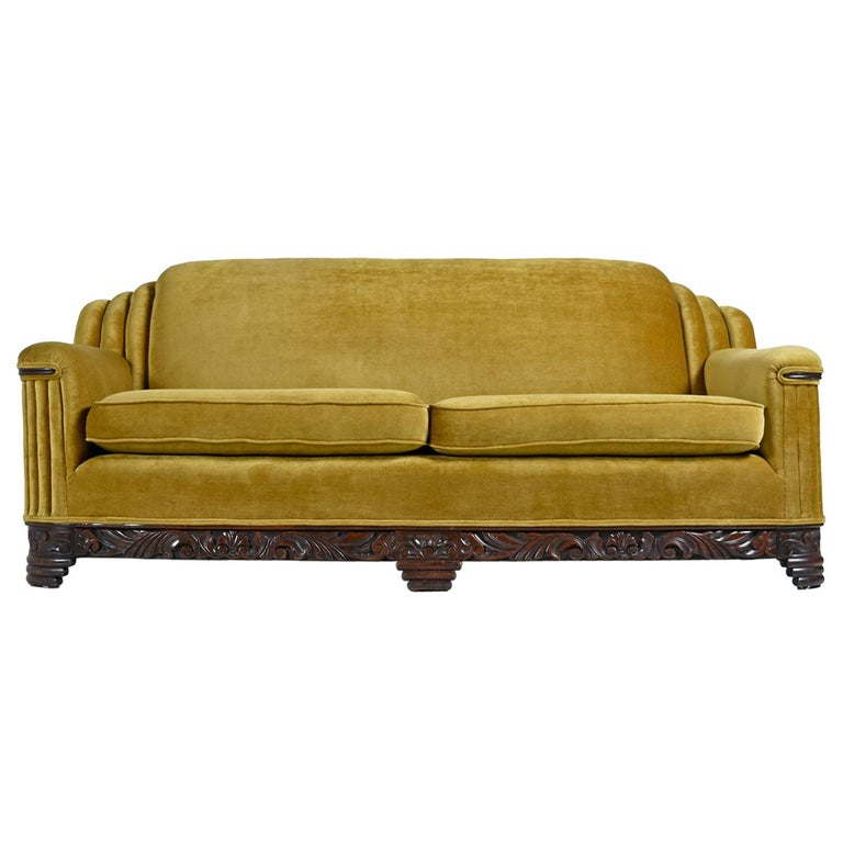 Art Deco Mahogany Accent Bronze Gold Chartreuse Mohair Sofa Couch For Sale