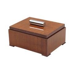 Art Deco Mahogany and Chrome Modernist Cigar Box Humidor