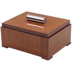Art Deco Mahogany and Chrome Modernist Cigar Humidor Box