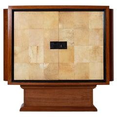Art Deco Mahogany and Velum Cabinet