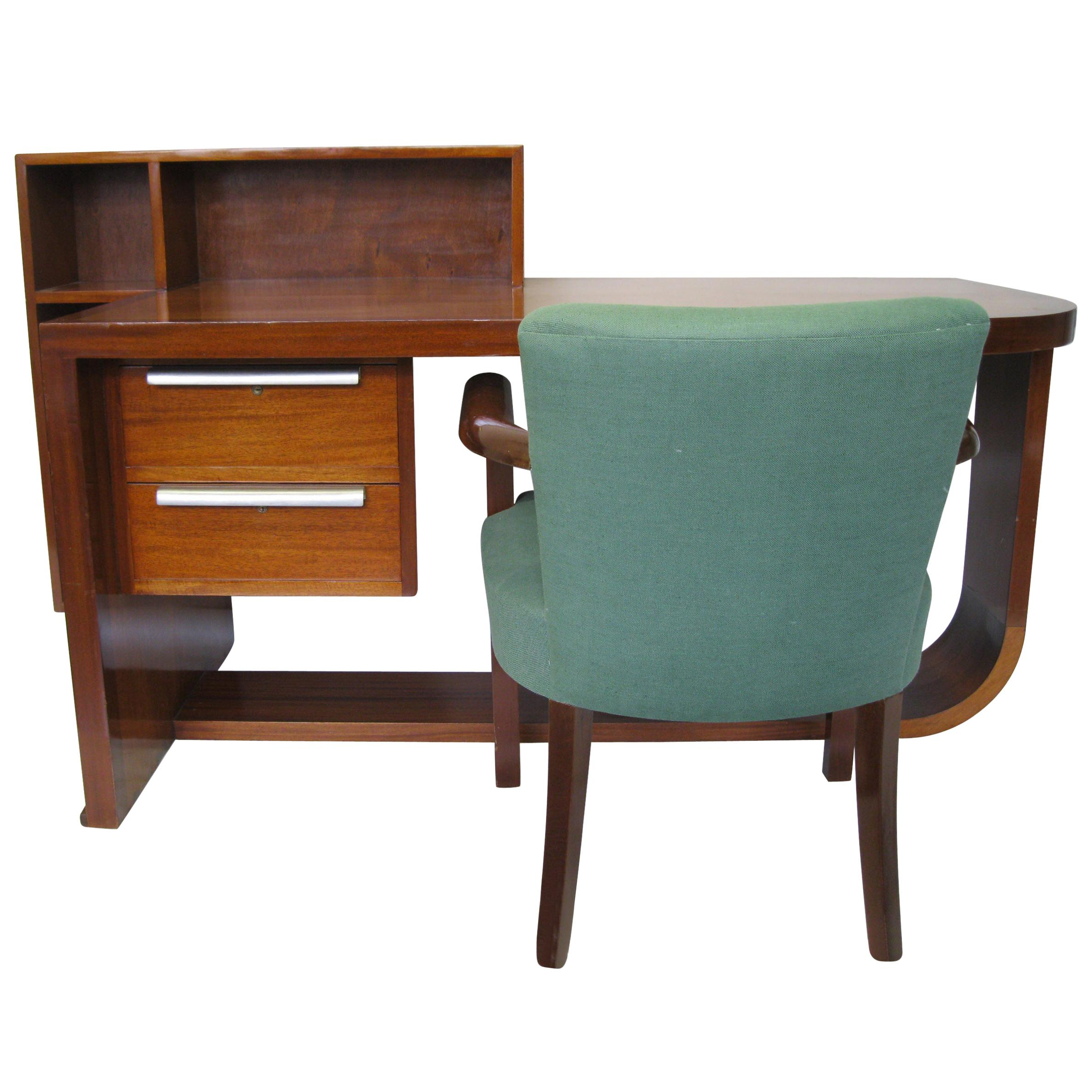 Art Deco Mahogany Desk and Chair by Rene Herbst