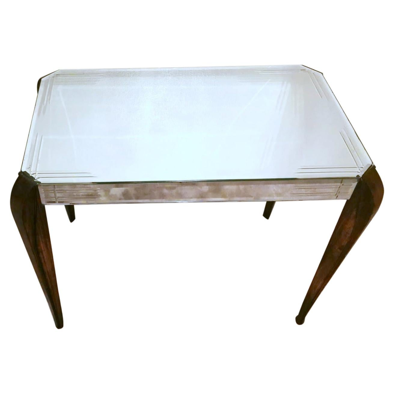 Art Deco Mahogany French Coffee Table with Mirrors