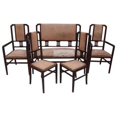Art Deco Mahogany Living Room Set Settee and 4 Chairs, Spain, 1930s