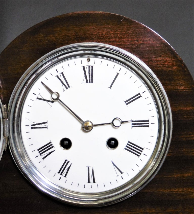 Art Deco Mahogany Mantel Clock For Sale 2