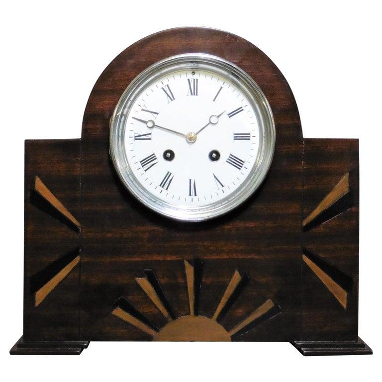 Art Deco Mahogany Mantel Clock For Sale