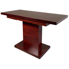 Art Deco Mahogany Pedestal Console Dining Table in the Manner of Donald Deskey