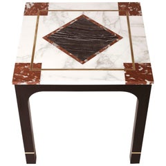 Art Deco Mahogany Side Table with Brass Inlays and Marble Cover with Brass 1