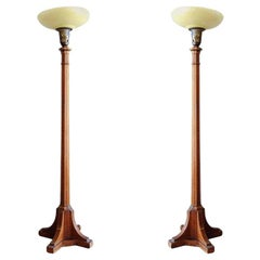 Art Deco Mahogany Torchiere Floor Lamp, Pair