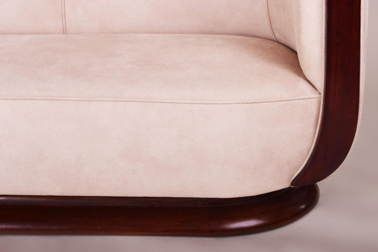 French Art Deco Mahogany Tulip Sofa, Inspired of Architect Emile Jacques Ruhlmann