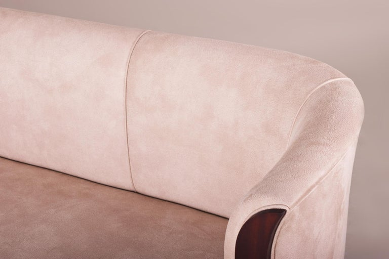 Mid-20th Century Art Deco Mahogany Tulip Sofa, Inspired of Architect Emile Jacques Ruhlmann