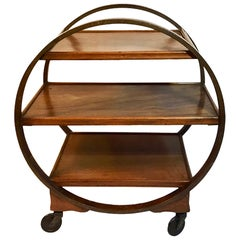 Art Deco Mahogany Veneered Plywood Hoop Cocktail Trolley with Mahogany trays.