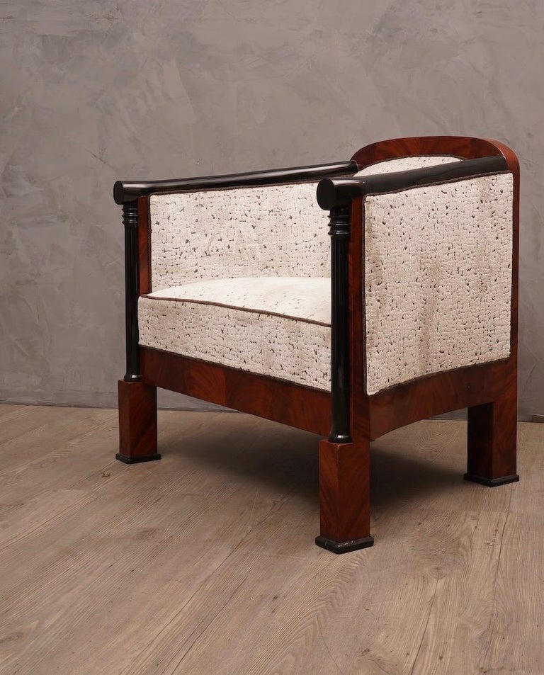 Art Deco Mahogany Wood and White Velvet Armchairs, 1940 For Sale 3