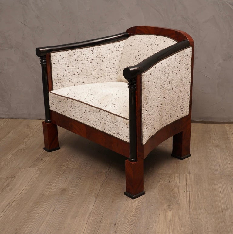 Mid-Century Modern Art Deco Mahogany Wood and White Velvet Armchairs, 1940 For Sale