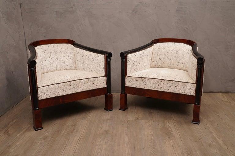 Austrian Art Deco Mahogany Wood and White Velvet Armchairs, 1940 For Sale