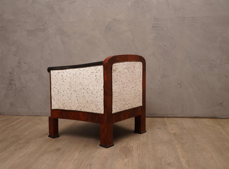 Art Deco Mahogany Wood and White Velvet Armchairs, 1940 For Sale 1