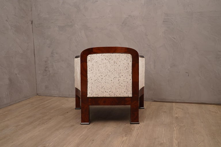 Art Deco Mahogany Wood and White Velvet Armchairs, 1940 For Sale 2