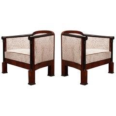 Art Deco Mahogany Wood and White Velvet Armchairs, 1940