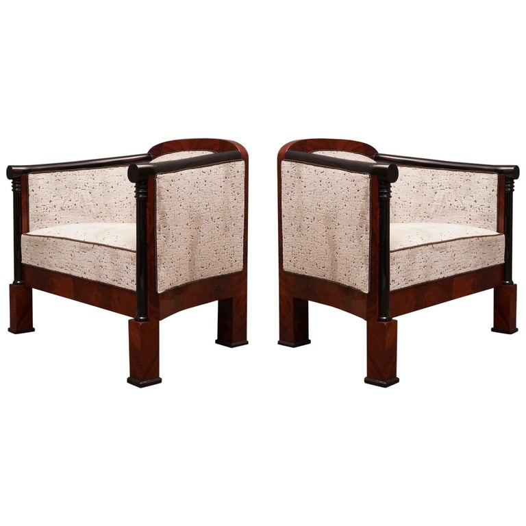 Art Deco Mahogany Wood and White Velvet Armchairs, 1940 For Sale