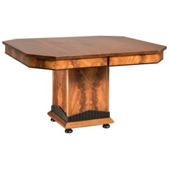 Art Deco Mahogany Wood Squared Extendable Table Up to 12 Seats