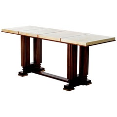 Art Deco Mahohany and Velum Console Table, by Gauthier-Poinsignon