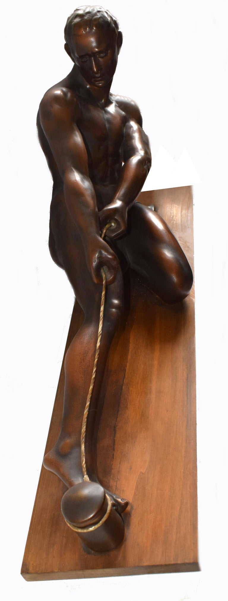 French Art Deco Male Figure ' the Rope Puller', circa 1930s For Sale