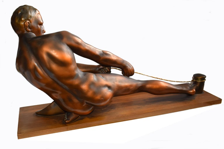 Art Deco Male Figure ' the Rope Puller', circa 1930s In Good Condition For Sale In Devon, England