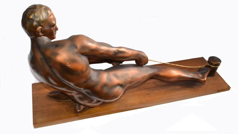 20th Century Art Deco Male Figure ' the Rope Puller', circa 1930s For Sale