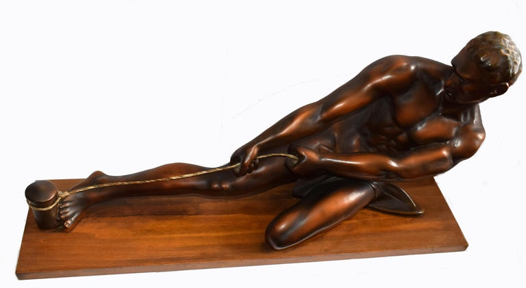 Plaster Art Deco Male Figure ' the Rope Puller', circa 1930s For Sale