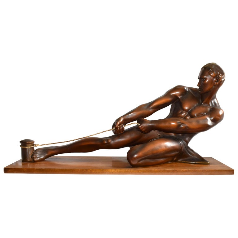 Art Deco Male Figure ' the Rope Puller', circa 1930s For Sale