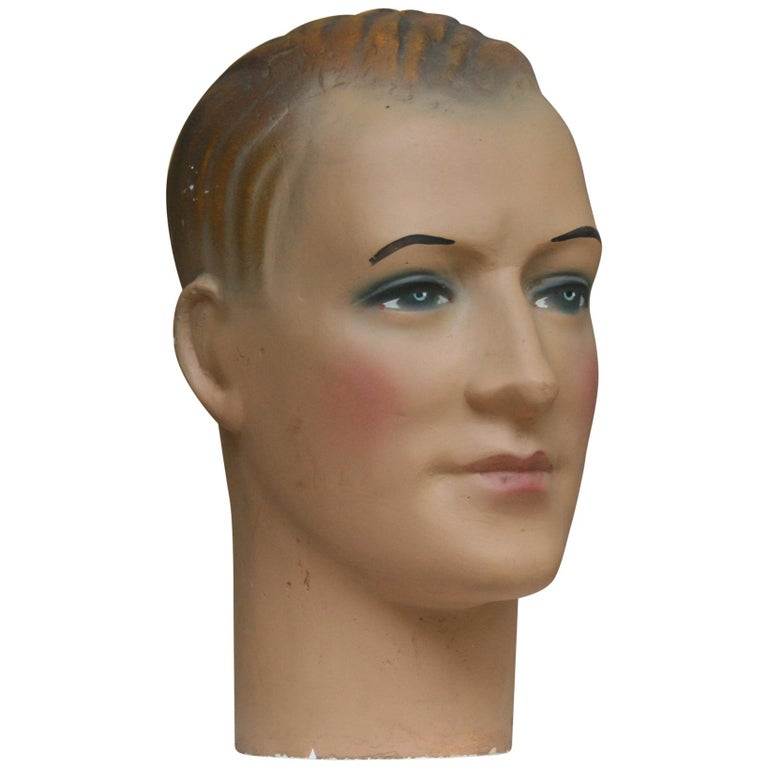 Art Deco Mannequin Head of a Young Man, 1930s For Sale