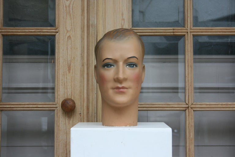 Hand-Painted Art Deco Mannequin Head of a Young Man, 1930s For Sale