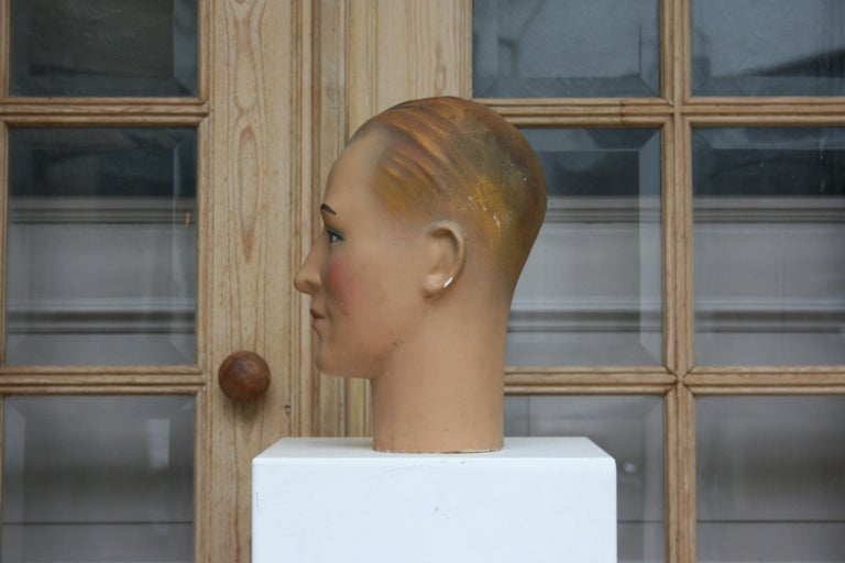 Art Deco Mannequin Head of a Young Man, 1930s In Good Condition For Sale In Dusseldorf, DE