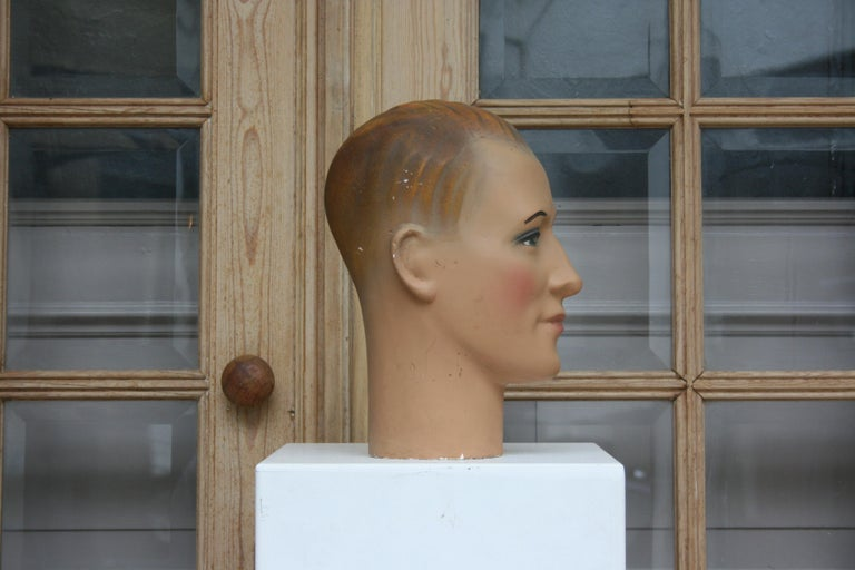 Mid-20th Century Art Deco Mannequin Head of a Young Man, 1930s For Sale