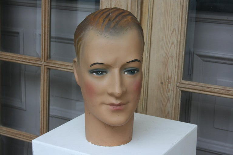 Art Deco Mannequin Head of a Young Man, 1930s For Sale 1