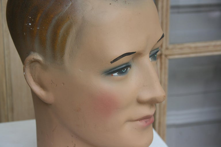 Plaster Art Deco Mannequin Head of a Young Man, 1930s For Sale