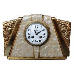 Art Deco Mantel Clock Attributed to Süe et Mare 8 Day Movement French circa 1925