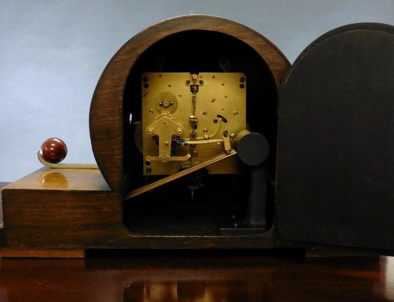 Wood Art Deco Mantel Clock For Sale