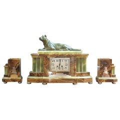 Art Deco Mantel Clock Garniture with Panther