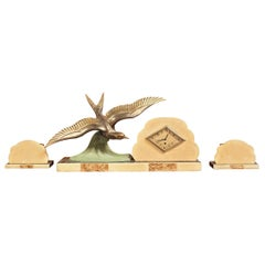 Art Deco Mantel Clock with Garnitures, Iconic Bird and Clouds Design