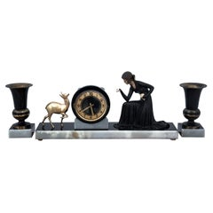 Art Deco Mantel Clock with Two Vases, Germany, 20-30s