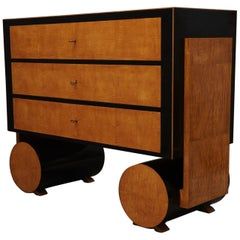 Art Deco Maple and Ebonized Wood Austrian Chests of Drawers, 1940
