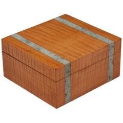 Art Deco Maple Shagreen Cedar Lined Cigarette Box, 20th Century