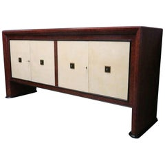 Art Deco Maple Wood and Parchment Italian Sideboard, 1940